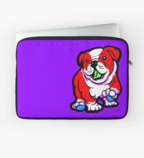 Happy Bulldog Puppy Red and White  Laptop Sleeve