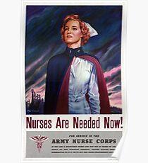 Krankenschwestern sind jetzt - Weinlese-WWII Plakat benötigt Poster