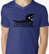 Dinosaur on the inside (For the ladies) Men's V-Neck T-Shirt