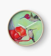 Hummingbirds at the Feeder Painting Clock