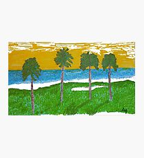 Palm Trees Golf Course Ocean Photographic Print