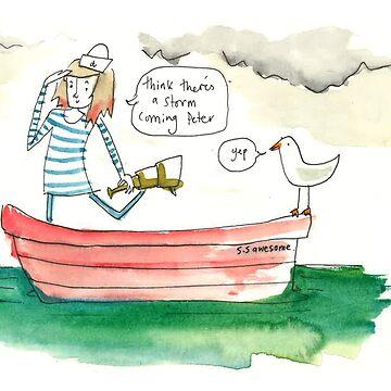 Sailing Girl by EmskiArt