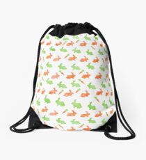 Watercolor Easter Bunny Carrot Silhouette Pattern Drawstring Bag