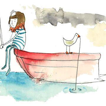 Sailing Girl Fishing  by EmskiArt