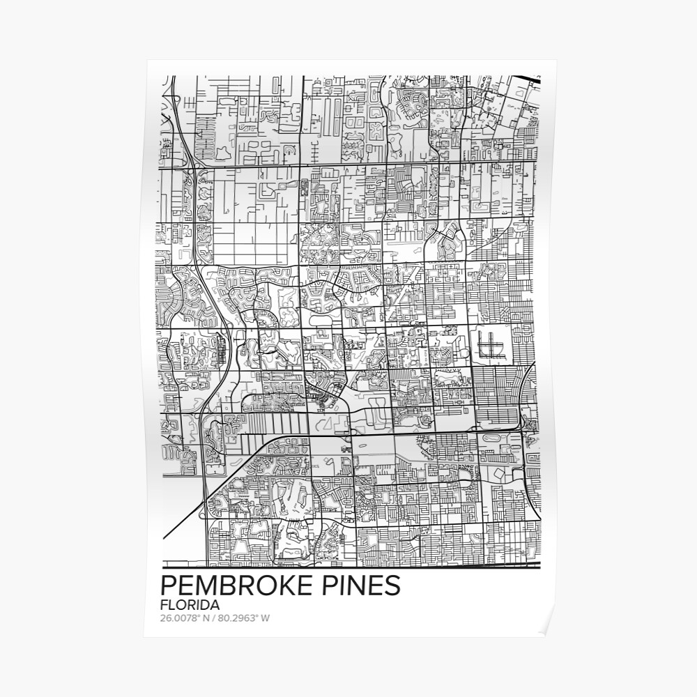 """Pembroke Pines Map Poster Print Wall Art, Florida Gift"