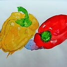 Red and Yellow Peppers by Jennifer J Watson