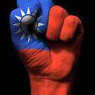 Flagge von Taiwan auf einer angehobenen geballten Faust von jeff bartels