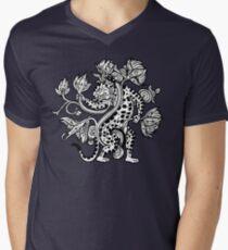 Mayan Jaguar with Lotus Men's V-Neck T-Shirt
