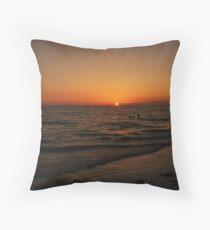 Sihouette children swimming Throw Pillow