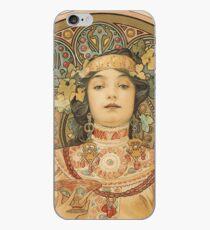 Vinilo o funda para iPhone Alphonse Mucha nativo americano mujer sosteniendo Champagne