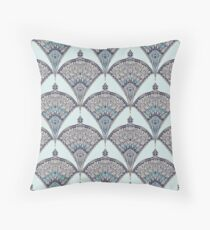 Deco Doodle in Aqua, Cream & Navy Blue Throw Pillow