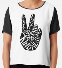 Peace Sign with words Peace, Love, Faith, Joy, Hope, Kindness, Unity Chiffon Top