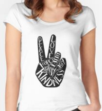Peace Sign with words Peace, Love, Faith, Joy, Hope, Kindness, Unity Fitted Scoop T-Shirt