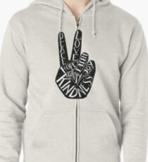 Peace Sign with words Peace, Love, Faith, Joy, Hope, Kindness, Unity Zipped Hoodie