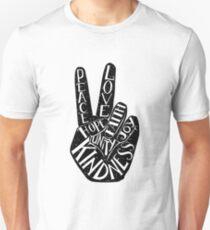 Peace Sign with words Peace, Love, Faith, Joy, Hope, Kindness, Unity Unisex T-Shirt