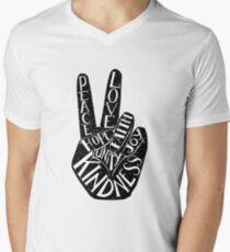 Friedenszeichen mit Wörtern Frieden, Liebe, Glaube, Freude, Hoffnung, Freundlichkeit, Einheit T-Shirt mit V-Ausschnitt