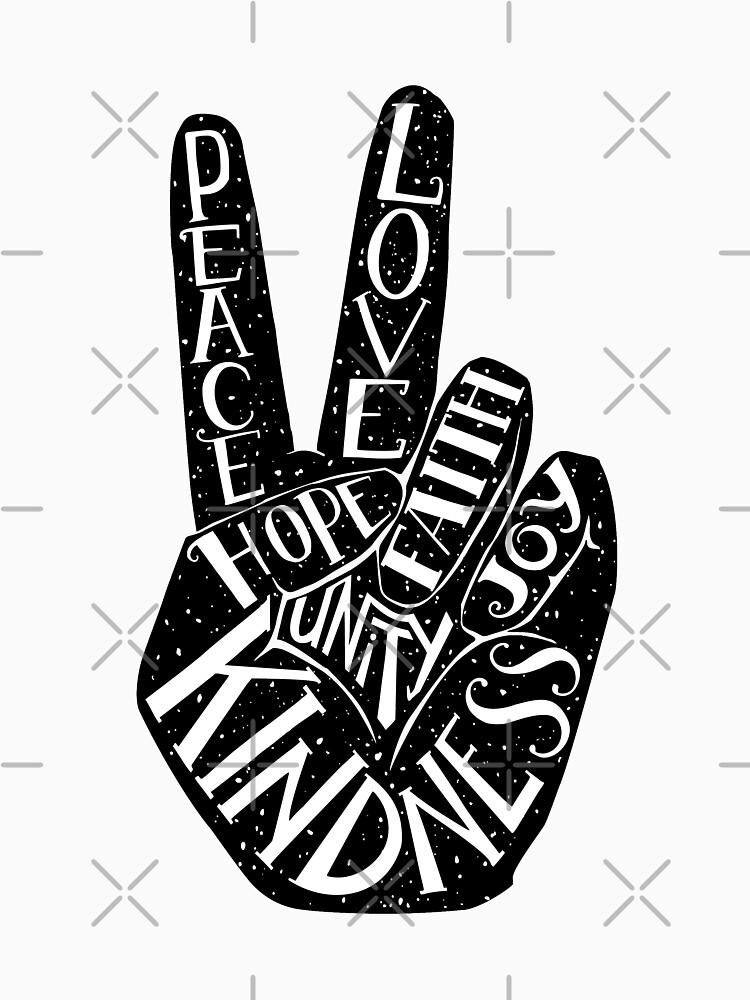 Signo de la paz con palabras Paz, amor, fe, alegría, esperanza, amabilidad, unidad de picbykate