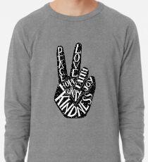 Friedenszeichen mit Wörtern Frieden, Liebe, Glaube, Freude, Hoffnung, Freundlichkeit, Einheit Leichter Pullover