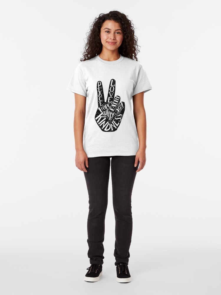 Alternate view of Peace Sign with words Peace, Love, Faith, Joy, Hope, Kindness, Unity Classic T-Shirt