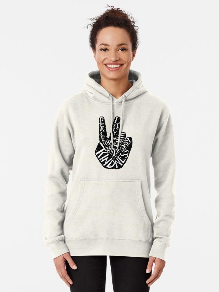 Alternative Ansicht von Friedenszeichen mit Wörtern Frieden, Liebe, Glaube, Freude, Hoffnung, Freundlichkeit, Einheit Hoodie