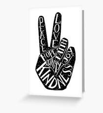 Peace Sign with words Peace, Love, Faith, Joy, Hope, Kindness, Unity Greeting Card