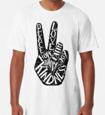 Peace Sign with words Peace, Love, Faith, Joy, Hope, Kindness, Unity Long T-Shirt
