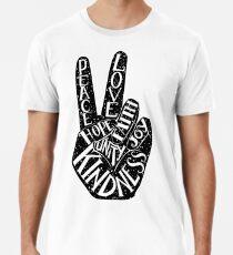 Camiseta premium Signo de la paz con palabras Paz, amor, fe, alegría, esperanza, amabilidad, unidad