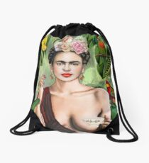 Frida con amigos Drawstring Bag