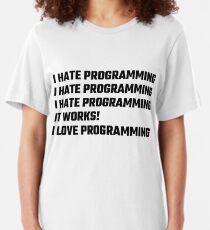 Camiseta ajustada Amo la programación