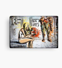 Metroid, Art, shamus, nintendo 64, nintendo, gamecube, video game, girl, robot, machine, underwear, christmas, present, joe badon Canvas Print