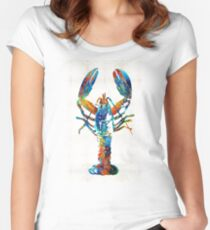 Colorful Lobster Art by Sharon Cummings Women's Fitted Scoop T-Shirt