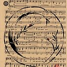 Time After Time - Sumie Enso Ink Brush Painting on Vintage Sheet Music by Rebecca Rees
