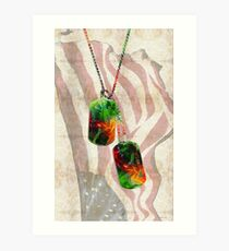 Military Art Dog Tags - Honor 2 - By Sharon Cummings  Art Print