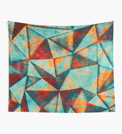 triangles blue green Wall Tapestry