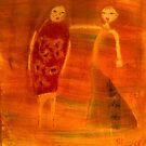 Women, mixed media on canvas by Sandrine Pelissier