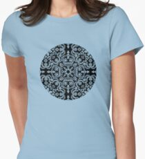 Black & White Folk Art Pattern Womens Fitted T-Shirt