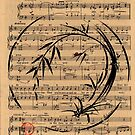 Laura - Sumie Enso Ink Brush Painting on Vintage Sheet Music by Rebecca Rees