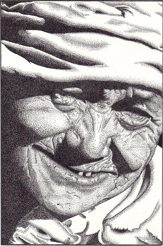 Elderly Woman, Khokana, Nepal, Ink Drawing by kojak67