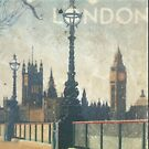 London skyline view of Westminster Abbey and Big Ben, painting from Victorian era by Angie Stimson