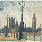 London skyline view of Westminster Abbey and Big Ben, antique  painting from Victorian era by Angie Stimson