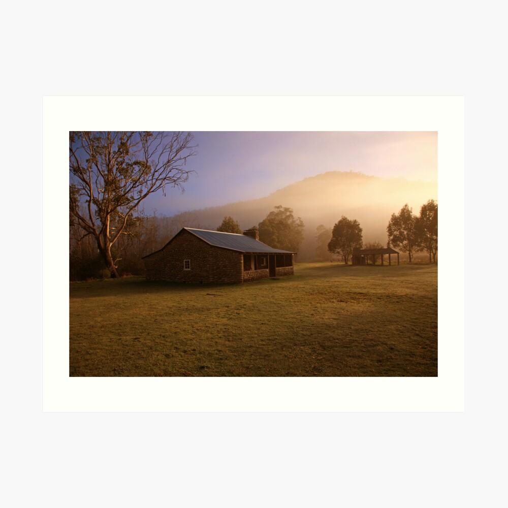 Misty dawn over GeeHe Hut, Kosciusko Nat. Park, Australia Art Print