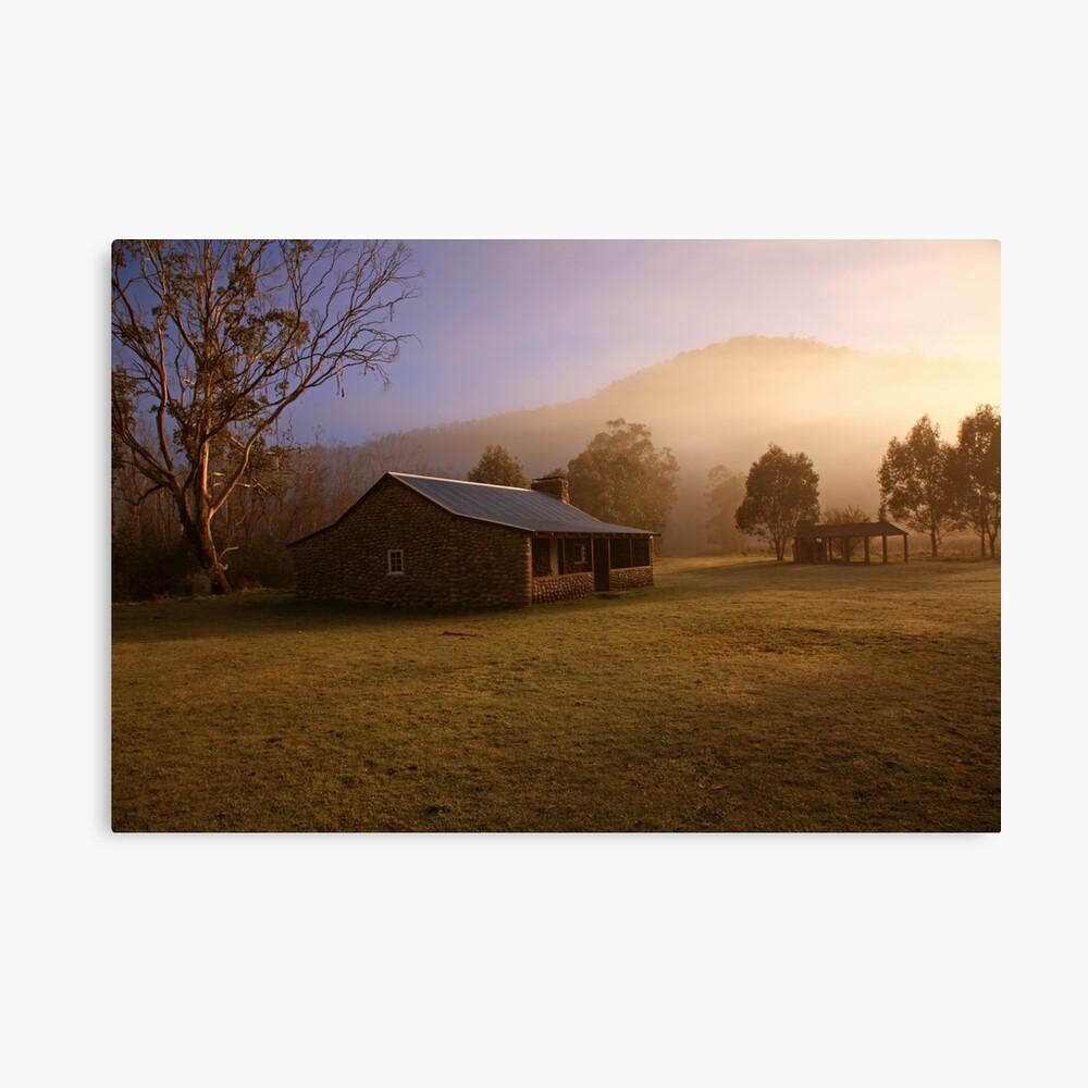 Misty dawn over GeeHe Hut, Kosciusko Nat. Park, Australia Canvas Print