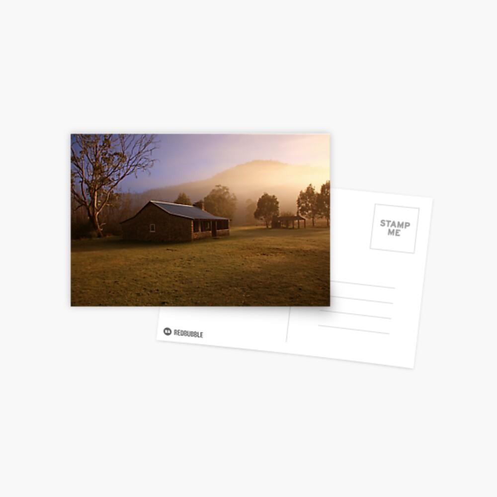 Misty dawn over GeeHe Hut, Kosciusko Nat. Park, Australia Postcard
