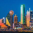 Dallas Skyline Colorful Sunset Reflection by josephhaubert