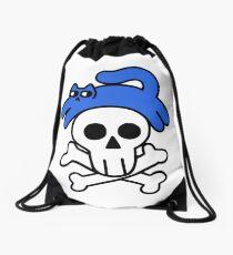 Cat And Skull And Crossbones Drawstring Bag
