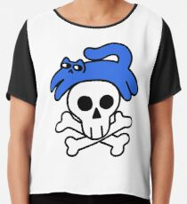 Cat And Skull And Crossbones Chiffon Top