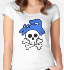 Cat And Skull And Crossbones Fitted Scoop T-Shirt