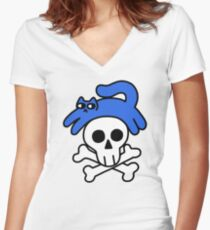Cat And Skull And Crossbones Fitted V-Neck T-Shirt