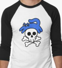 Cat And Skull And Crossbones Baseball ¾ Sleeve T-Shirt