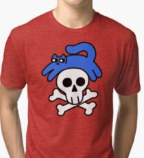 Cat And Skull And Crossbones Tri-blend T-Shirt